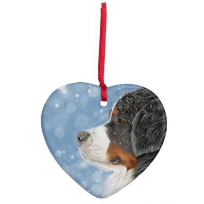 Bernese Mountain Dog Christmas Ornaments - Heart - Let It Snow