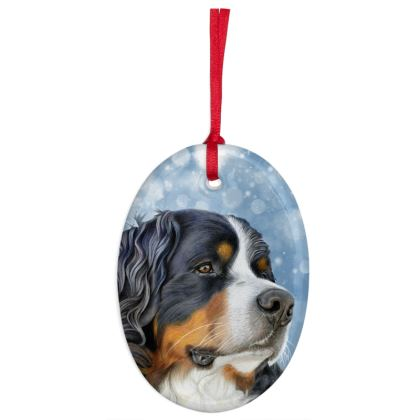 Bernese Mountain Dog Christmas Ornaments - Oval Regal Blue