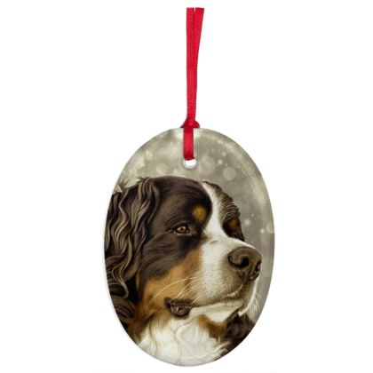 Bernese Mountain Dog Christmas Ornaments - Oval - Vintage Sepia
