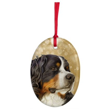 Bernese Mountain Dog Christmas Ornaments - Oval - Old Gold