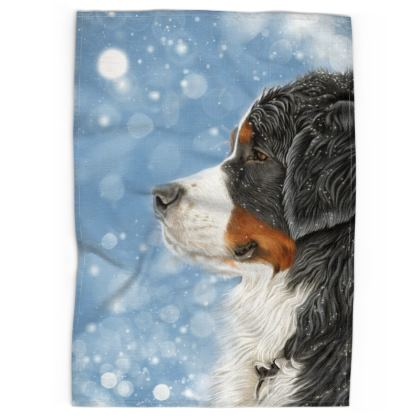 Bernese Mountain Dog Tea Towel - Let it Snow Blue