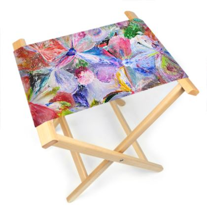 Folding Stool Chair  - Summer Pop - Flowers in motion