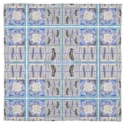 BIG FISH BLUE 115 x 115  reiner Seiden Satin 65gr/sm