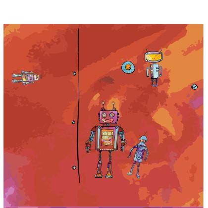 'Vintage Robots' Kimono