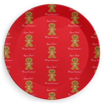"Party Plates ""Joyeux Noël!"" small pattern red"