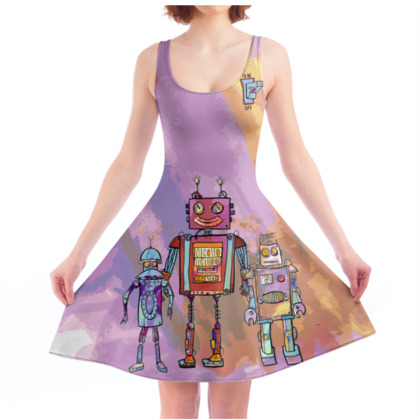 'Robots from Yesteryear' Skater Dress