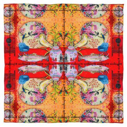 BIG CHINA RED 219,- SEIDENTUCH, Silk Scarf #ninibing34 DESIGN 115 x 115 cm 100% SEIDE