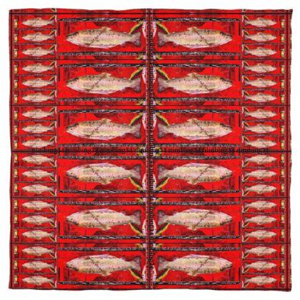 BIG FISH RED.SEIDENTUCH 115 x 115 cm 100% SEIDE