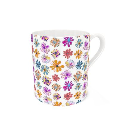Rainbow Daisies Collection Bone China Mug