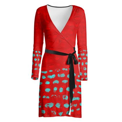 Textural Collection Wrap Dress in red and turquoise