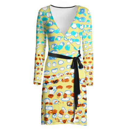 Textural Collection multicolored Wrap Dress in beige and turquoise