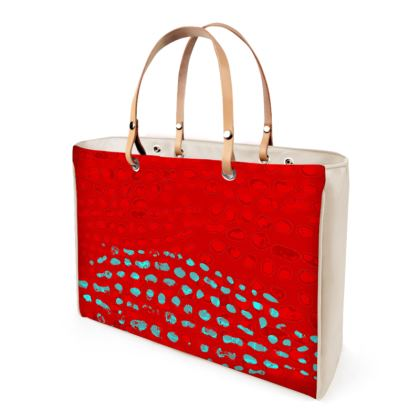 Textural Collection Handbag in red and turquoise