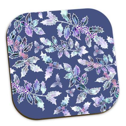 Blue 'Holly Madness' Coasters
