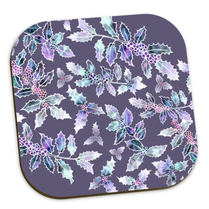 Grey Holly Madness Coasters
