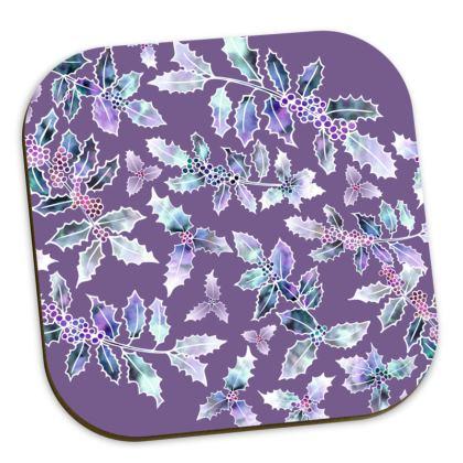 Purple Holly Madness Coasters