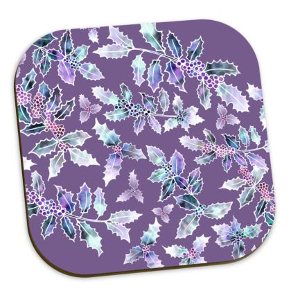 Purple 'Holly Madness' Coasters