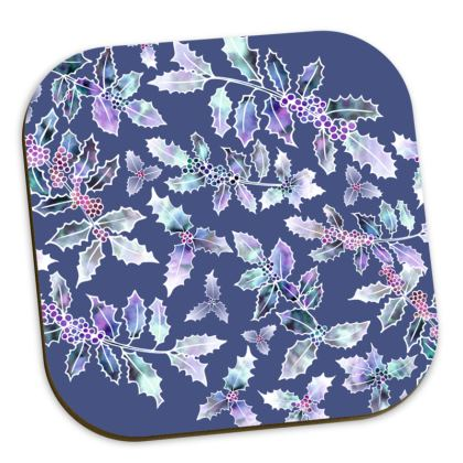 Set of 4 Holly Madness Coasters in Mixed Colours