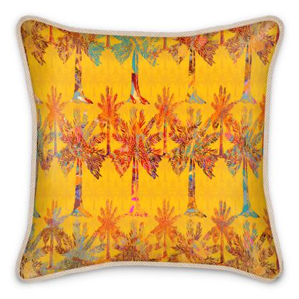 Oasis Collection on orange Silk Cushion