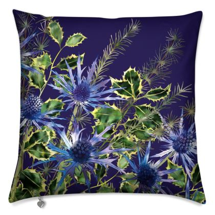 Midnight Holly Bouquet Cushion