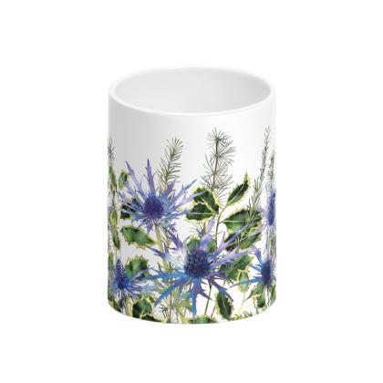 Holly Bouquet Tall Bone China Mug
