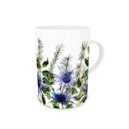 Tall Bone China Mug - Holly Bouquet