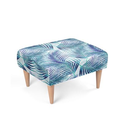 Tropical Garden in Blue Collection Footstool