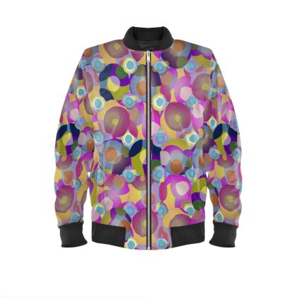 Moon Collection on blue Ladies Bomber Jacket