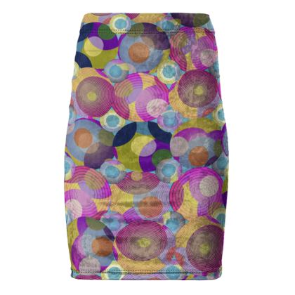 Moon Collection on blue Pencil Skirt