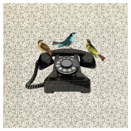 'Birdcall' vintage collage cushion
