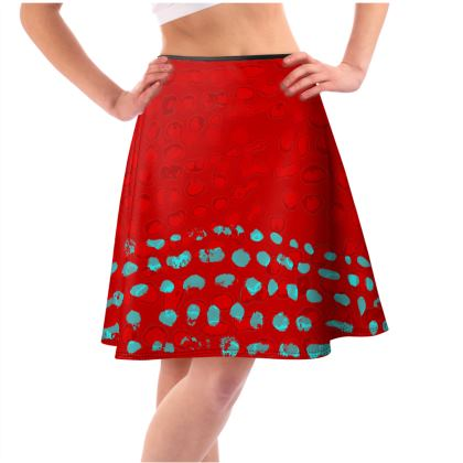 Textural Collection Flared Skirt in red and turquoise