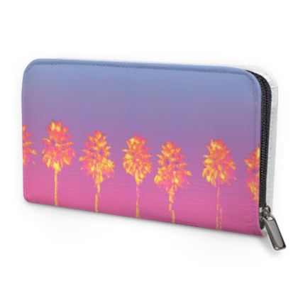 Palm Trees Collection Leather Zip Purse