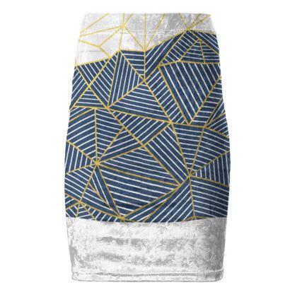 Ab Half and Half Navy Pencil Skirt
