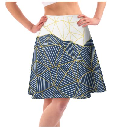 Ab Half and Half Navy Flared Skirt