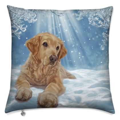 Golden Retriever Winter Scene Cushions