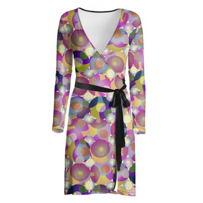 Moon Collection on cream Wrap Dress