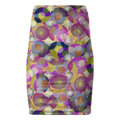 Moon Collection on cream Pencil Skirt