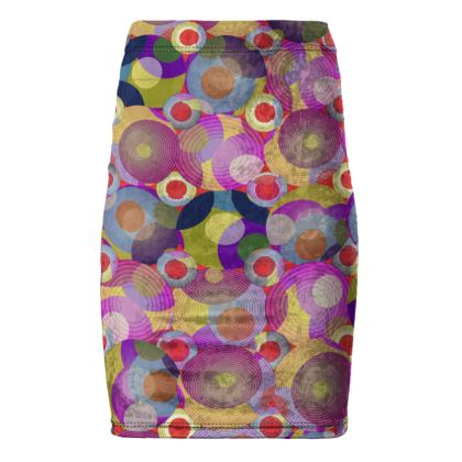 Moon Collection on red Pencil Skirt