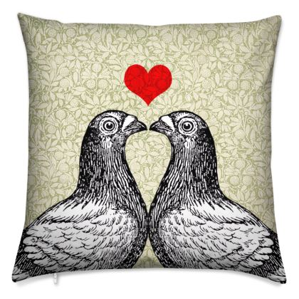 'Pigeons in Love' vintage collage cushion