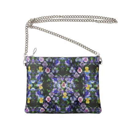 Floral Pansies Crossbody Bag With Chain