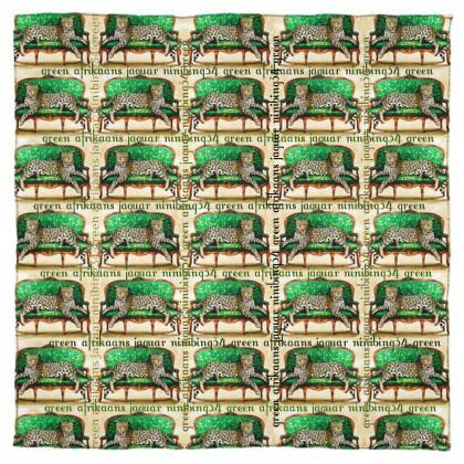 Silk Scarf #ninibing34 115 x 115 cm 100% SEIDE Africans green jaguar