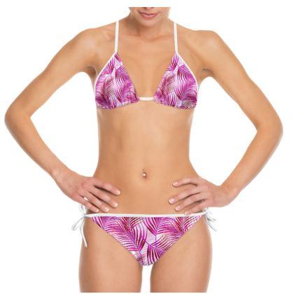 Tropical Garden in magenta Bikini