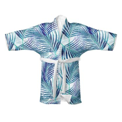Tropical Garden in Blue Collection Kimono