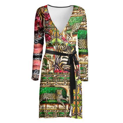 219,50 € AWESOME wraped dress! Wickelkleid size L 42, fällt klein aus, feiner Jersey im Green africaans jaguar DESIGN
