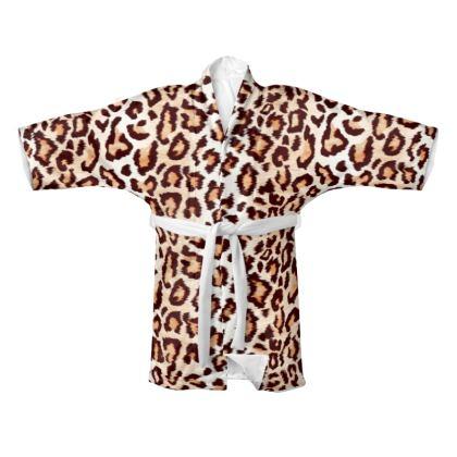 Leopard Print Kimono Gown