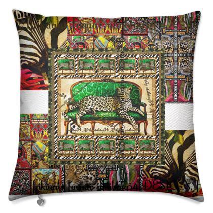 Premium Luxus Kissen ninibing34 Green jaguar africaans DESIGN, Fischart Mayfair Stoff