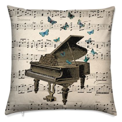 'Piano and Butterflies' vintage collage cushion