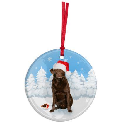 Chocolate Labrador Christmas Ornaments
