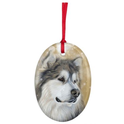 Alaskan Malamute Christmas Decoration Ornament - Old Gold