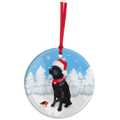 BLACK LABRADOR SITTING Christmas Ornaments