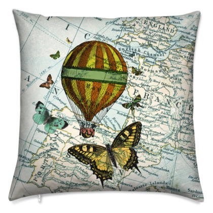 'Butterflies and Balloon' vintage collage cushion